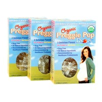Three Lollies Organic Preggie Pop Drops for Morning Sickness Relief Lozenges - Sour Raspberry, Sour Lemon & Green Apple - 12ct/3pk