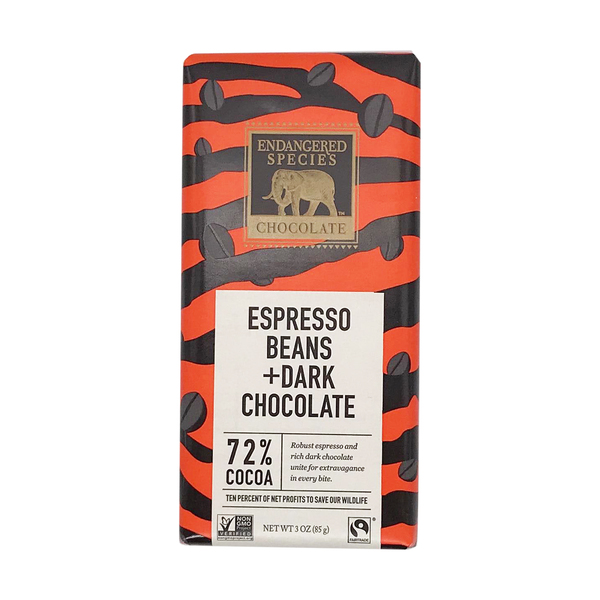 Endangered species chocolate 72% Dark Chocolate With Espresso Beans, 3 oz
