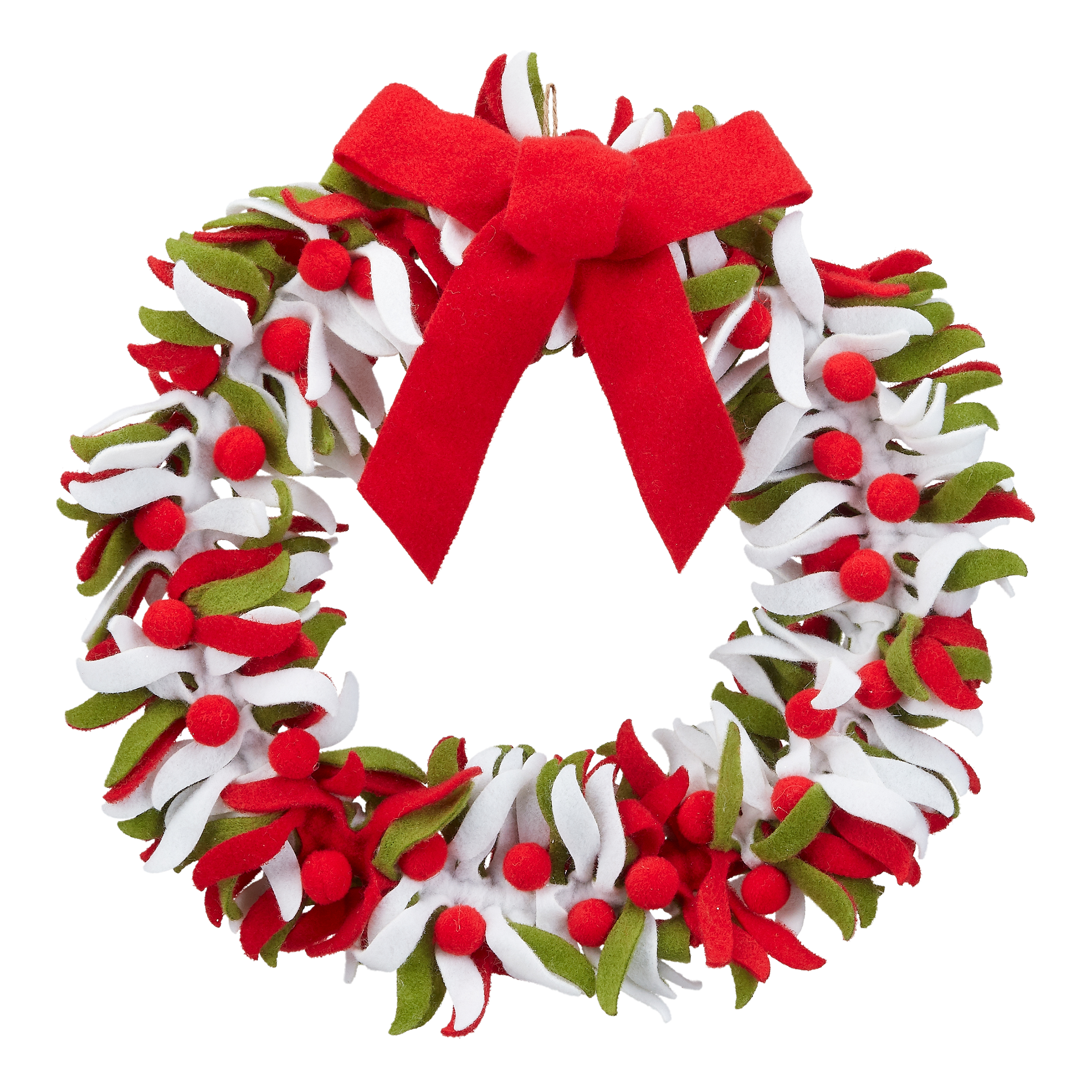 Holiday Time Red and White Felt Wreath Christmas Decoration, 16