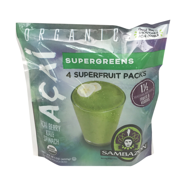 Sambazon Organic Supergreens Superfruit Packs, 14.1 oz