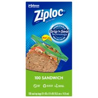 Ziploc Brand Sandwich Bags with Grip 'n Seal Technology, 100 Count