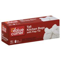 Pantry Essentials Kitchen Bags, Tall, with Flap Tie