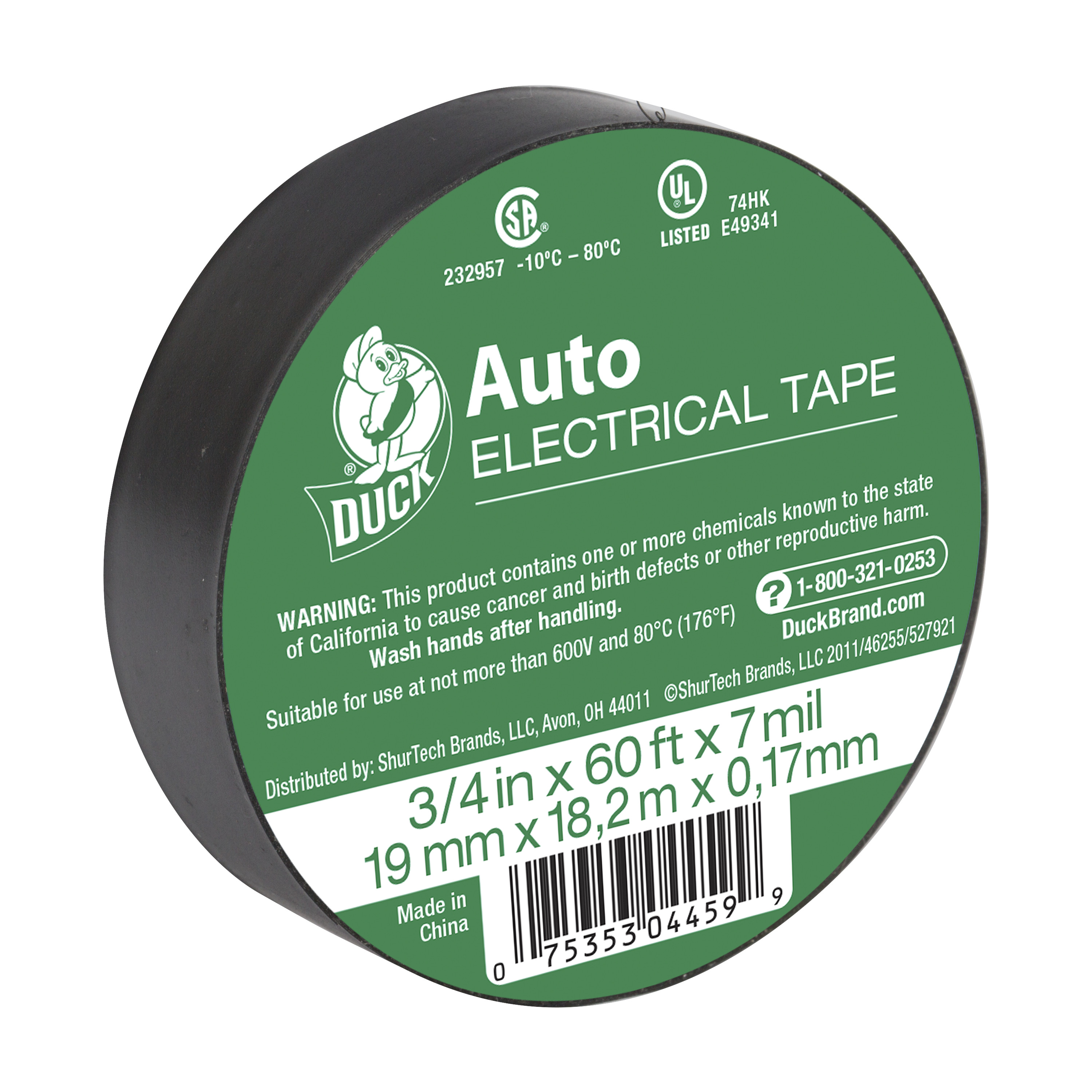 Duck Brand .75 in x 60 ft x 7 mil Black Auto Electrical Tape