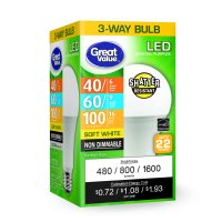 Great Value LED Light Bulb, 4-16W (40-100 Equivalent), A19 3-Way Lamp E26 Medium Base, Non-Dimmable, Soft White