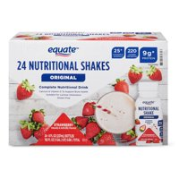 Equate Original Nutritional Shakes, Strawberry, 8 Fl Oz, 24 Ct