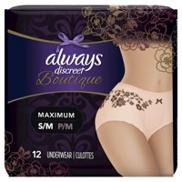 Always Discreet Boutique, Incontinence Underwear for Women, Maximum Protection, Peach, Small / Medium, 12 Count