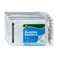 Duck Brand 6 in x 9 in (Size 0) White Poly Bubble Mailer, 5-pack