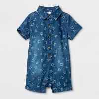 Baby Boys' Americana Denim Romper - Cat & Jack™ Blue