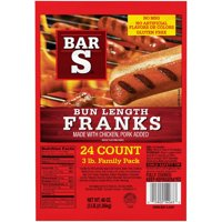 Bar S Bun Length Franks Family Pack, 48 Oz., 24 Count
