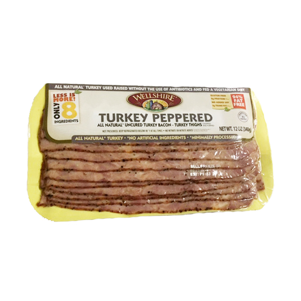 Wellshire farms Wellshire Turkey Peppered Turkey Bacon, 12 oz
