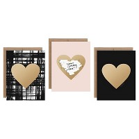 3ct Hearts Shaped Scratch-off Greeting Cards