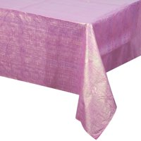 "Way to Celebrate Pink Shimmer Iridescent Plastic Tablecloth 54"" x 102"""