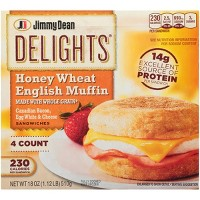 Jimmy Dean Delights Canadian Bacon, Egg Whites, & Cheese Honey Wheat Frozen English Muffin - 4ct