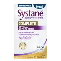 Systane Complete Lubricant Eye Drops for Dry Eye Symptom Relief, 10ml, 2 Pack