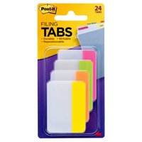 Post-it Tabs, 2 in., Solid, Assorted Bright Colors, 6 Tabs/Color, 4 Colors, 24 Tabs/Pack