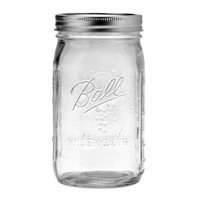 Ball Glass Mason Jar W/ Lid & Bad, Wide Mouth, 32 Ounces, 1 Each
