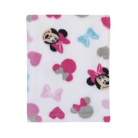 Disney Minnie Mouse Plush Pink, White, Aqua Baby Blanket
