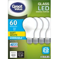 Great Value LED, 8W (60W Equivalent) Soft White Color, Frosted Bulb, 22 Year Life, E26 Medium Base, Dimmable, 4pk Light Bulbs