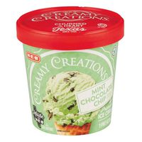 H-e-b Creamy Creations Mint Chocolate Chip Peppermint Premium Ice Cream Made With Fresh Cream And Rich Naturally Flavored Chocolate Chips