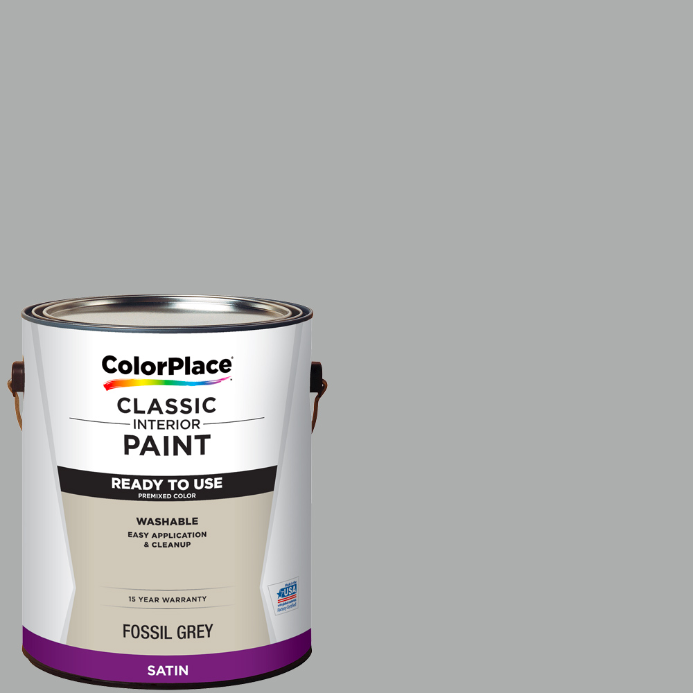 ColorPlace Classic Interior Paint + Primer Ready to Use Fossil Grey, Satin
