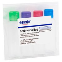 Equate Grab-N-Go 3 Fl. Oz. Flip Top Travel Bottles, 4 Pack