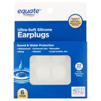 Equate Ultra-Soft Silicone Earplugs, 6 Pair