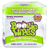 Boogie Wipes Saline Nose Wipes Unscented - 90ct