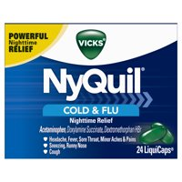 Vicks NyQuil Cough, Cold & Flu Nighttime Relief, 24 LiquiCaps - #1 Pharmacist Recommended – Nighttime Sore Throat, Fever, and Congestion Relief