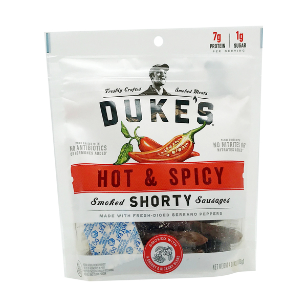 Duke's Hot & Spicy Smoked `Shorty` Sausages, 4 oz