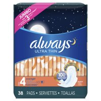 Always Ultra Thin Overnight Pads with Wings, Unscented, Size 4, 38 Ct