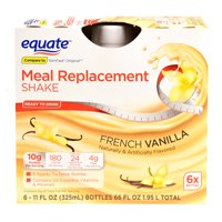 Equate Meal Replacement Shake, French Vanilla, 66 Oz, 6 Ct